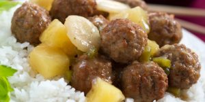 Sweet and Sour Meatballs with White ice