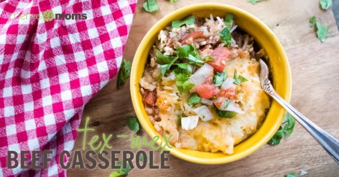 Tex-Mex Beef Casserole in yellow bowl on wood with red and white checked towel