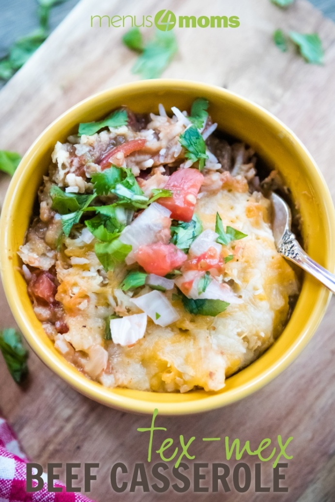 Tex-Mex Beef Casserole in yellow bowl on wood