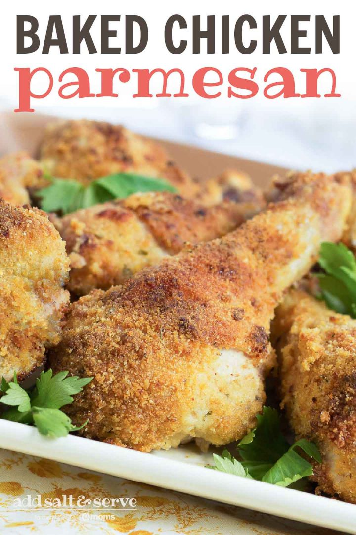 Breaded baked Chicken Parmesan drumsticks garnished with parsley