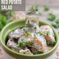 Bowl of potato salad garnished with parsley with a fork and text Best Ever Red Potato Salad - Add Salt & Serve logo