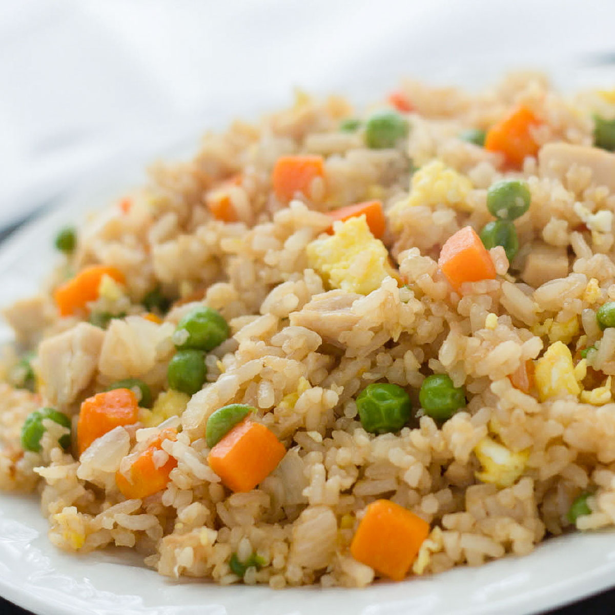 Chicken Fried Rice on a white plate