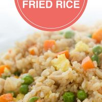 Chicken Fried Rice on a white plate; text Japanese Chicken Fried Rice - Add Salt & Serve logo