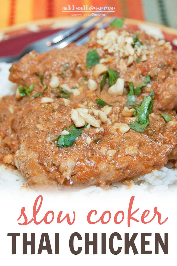 Chicken breasts cooked with peanut sauce over white rice and garnished with chopped cilantro and peanuts and text Slow Cooker Thai Chicken - Add Salt & Serve logo