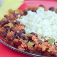 Black Beans and Rice on a plate