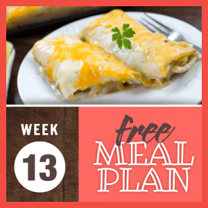 Week 13 free meal plan; image of burritos coved in cream sauce and topped melted cheese