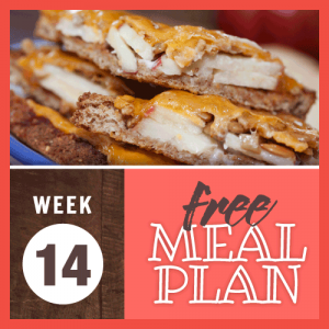 Week 14 Free Meal Plan; image of open-faced sandwiches on whole grain bread with apple slices, sunflower seeds, and melted cheddar cheese
