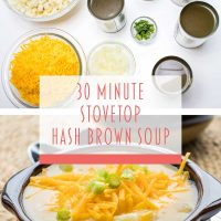 Composite image: Top photo is ingredients. Bowls of hash browns, shredded cheddar cheese, diced onions, and cans of chicken broth, cream of celery soup, cream of chicken soup, and evaporated milk. Bottom photo is a bowl of Hash Brown Potato Soup topped with shredded cheddar cheese and garnished with diced green onions. Text is 30 Minute Stovetop Hash Brown Soup - Add Salt & Serve logo