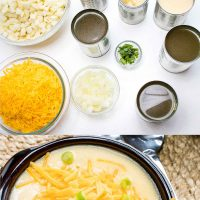 Composite image: Top photo is ingredients. Bowls of hash browns, shredded cheddar cheese, diced onions, and cans of chicken broth, cream of celery soup, cream of chicken soup, and evaporated milk. Bottom photo is a bowl of Hash Brown Potato Soup topped with shredded cheddar cheese and garnished with diced green onions. Text is Stovetop Hash Brown Soup only 30 minutes! - Add Salt & Serve logo