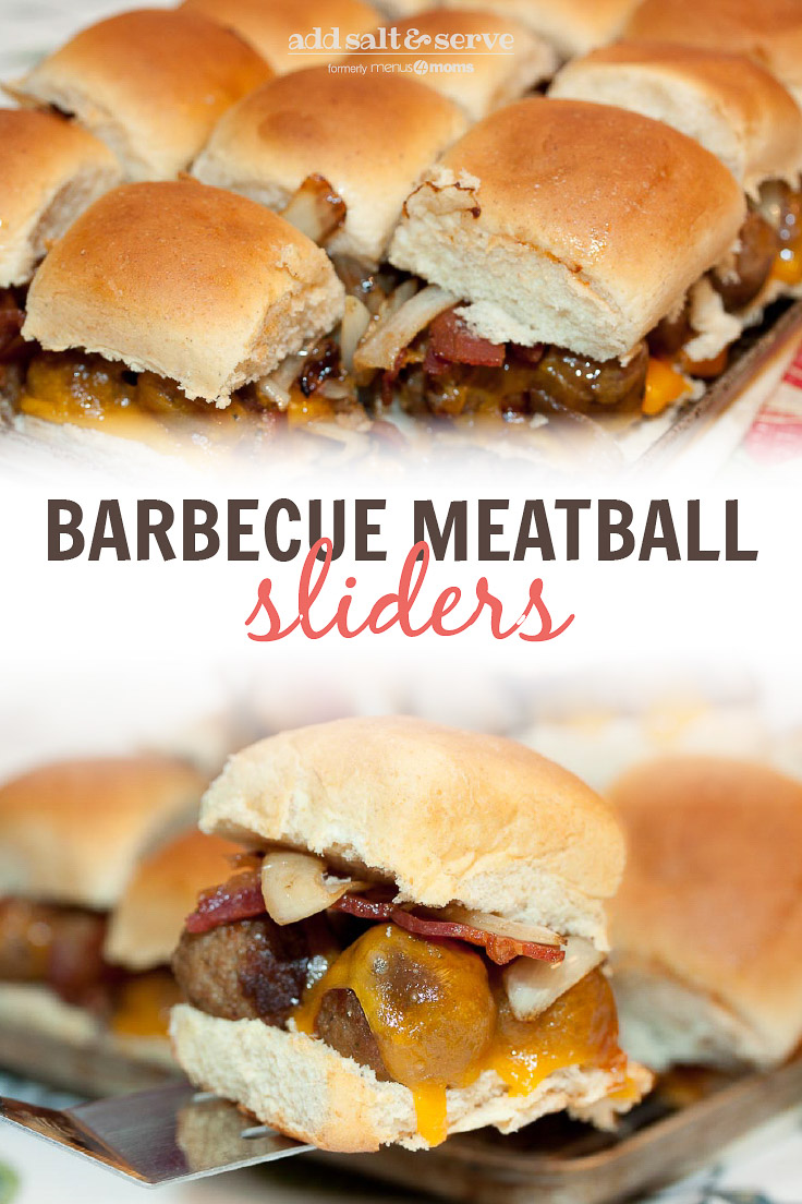 Composite image: top photo is a pan full of Barbecue Meatball Sliders. Bottom photo is a cluse-up of a Hawaiian roll with meatballs, melted cheddar cheese, bacon, and sautéed onions, with more sliders in the background. Text is Barbecue Meatball Slider - Add Salt & Serve logo