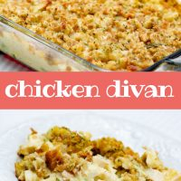 Top photo is chicken and broccoli casserole with bread topping in a glass casserole dish. Bottom photo is chicken and broccoli with sauce and bread topping on a white plate. Text Add Salt & Serve formerly Menus4Moms Chicken Divan