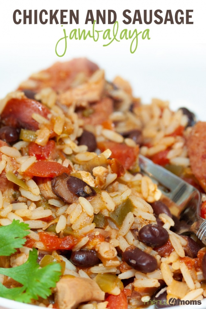White bowl and fork with rice, black beans, sausage, tomatoes, and green chilies; text Chicken and sausage jambalaya Menus4Moms