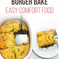 Overhead angled view of burger casserole with cornbread topping and text cornbread burger bake Easy Comfort foodAdd Salt & Serve