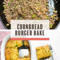 Top imbae is ground been, onions, and bell pepepr sauteing in a cast iron skillet, bottom image isoverhead view of burger casserole with cornbread topping and text cornbread burger bake Add Salt & Serve