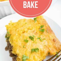 Overhead angled view of burger casserole with cornbread topping and text cornbread burger bake Add Salt & Serve