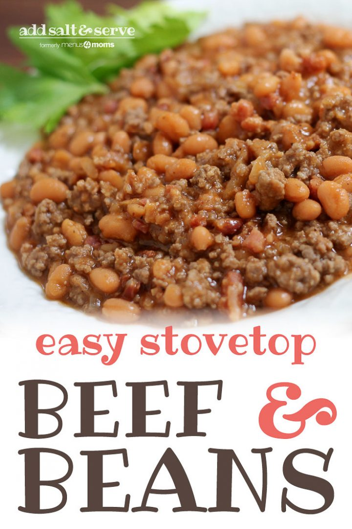 Bowl of cooked ground beef and pinto beans in sauce with text Beef With Beans Add Salt & Serve