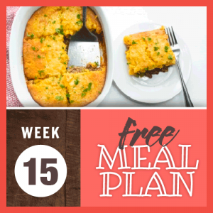 Week 15 free meal plan; overhead image of casserole with ground beef topped with cornbread and green onion topping