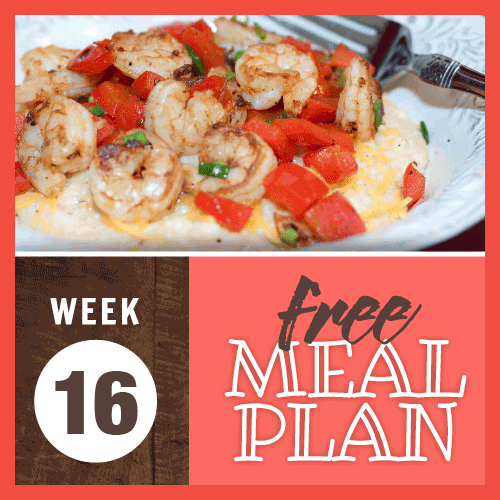 Week 16 free meal plan; image of sautéed shrimp and red bell peppers over cheese grits