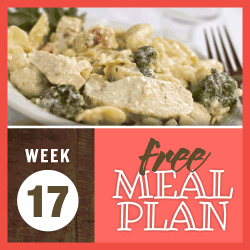 Week 17 free meal plan; image of sliced chicken and broccoli in a creamy sauce with pasta