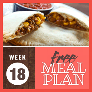 Week 18 free meal plan; image of beef empanadas with salsa on the side