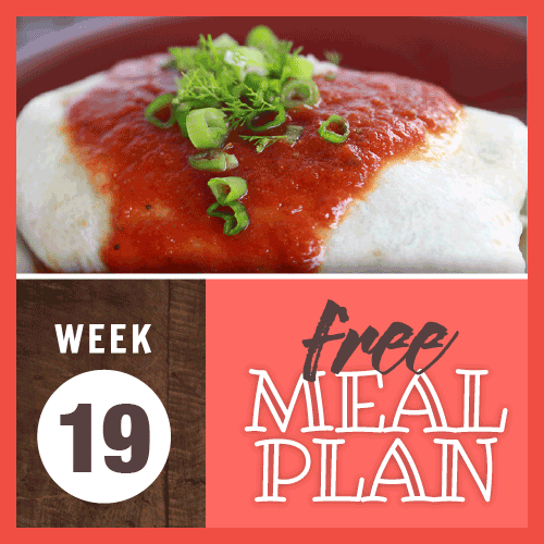 Week 19 free meal plan; image of burrito with red sauce garnished with chopped green onions