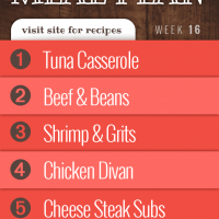 Meal plan for week 16, 2019, visit site for recipes: 1- Tuna Casserole 2- Beef and Beans 3- Shrimp and Grits 4- Chicken Divan 5-Cheese Steak Subs
