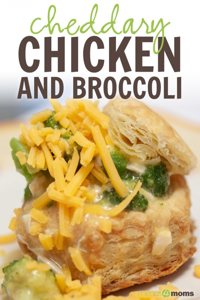 Biscuits with broccoli, chicken, and shredded cheddar cheese on a white plate; text Cheddary Chicken and Broccoli Menus4Moms