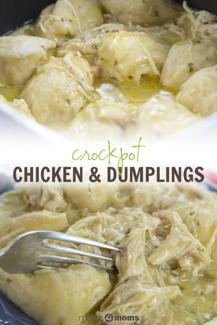 Top photo is a white square bowl full of dumplings, shredded chicken, and sauce. Bottom photo is a fork cutting into a dumpling on a blue plate with shredded chicken, dumplings, and sauce, garnished with a piece of celery; text Crockpot Chicken & Dumplings Menus4Moms