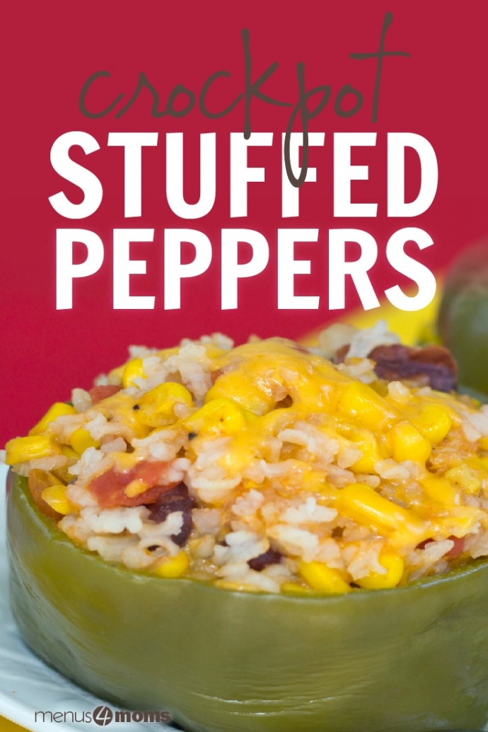 Green bell pepper on a white plate filled with rice, kidney beans, diced tomatoes, corn, and cheese with red background; text crockpot stuffed peppers Add Salt & Serve