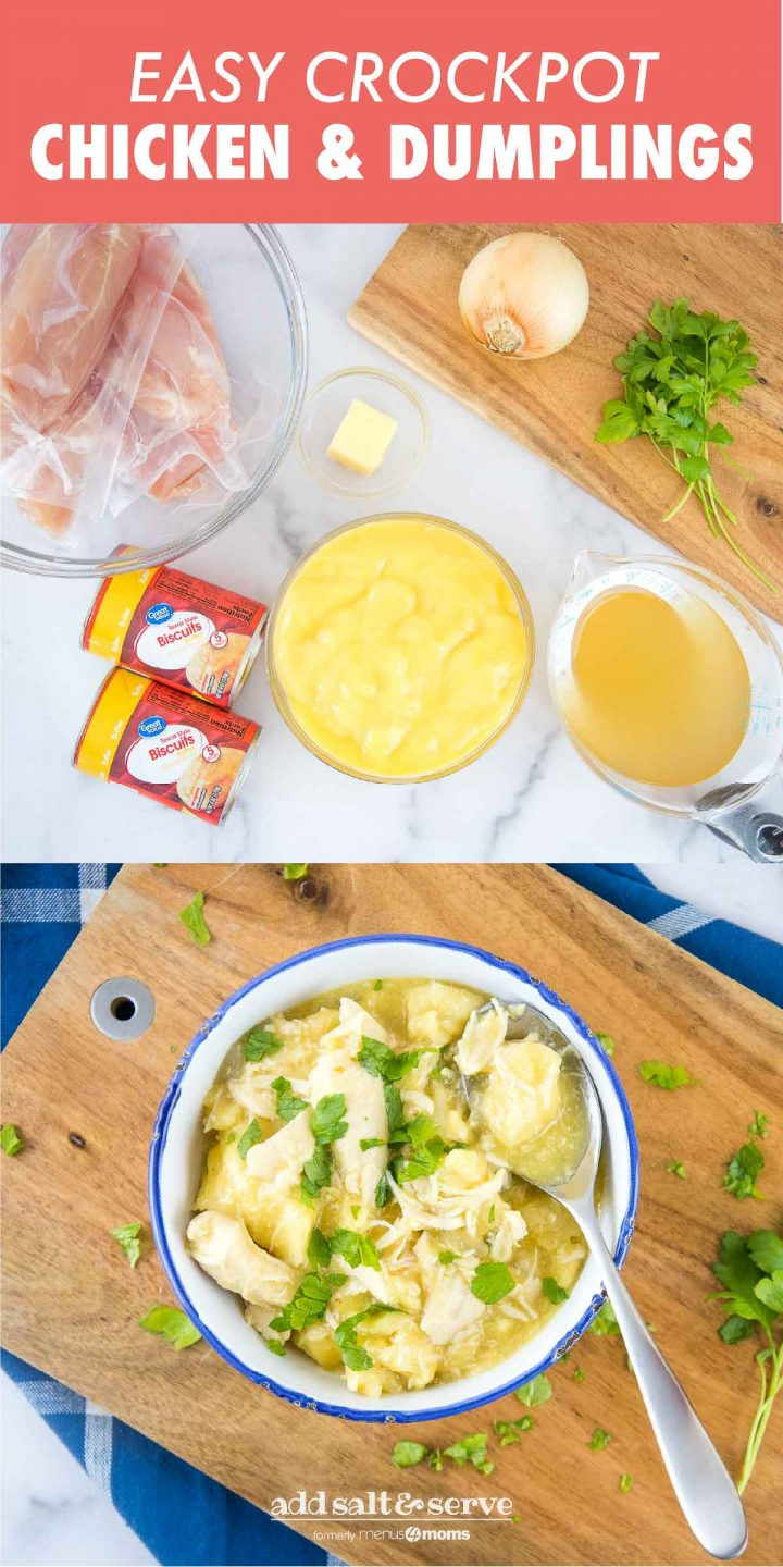 Easy Crockpot Chicken & Dumplings with Biscuits