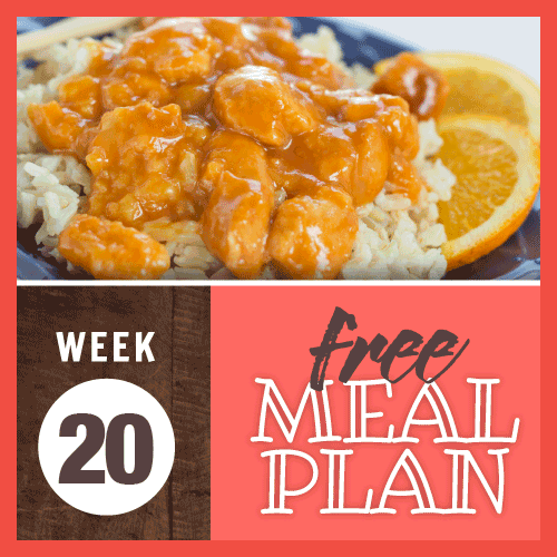 Week 20 Free Meal Plan; image of chicken fried in batter in an orange sauce served over rice with orange slices