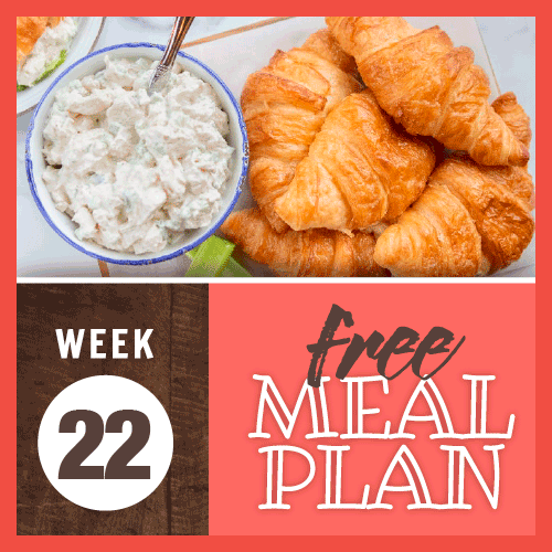 Week 22 meal Plan; overhead view of a pile of croissants and a bowl of chicken salad