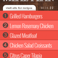 Menus4Moms Free Weekly Dinner Menu Plan: Visit site for recipes; Week 22, 2019: 1-Grilled Hamburgers, 2 - Lemon Rosemary Chicken, 3- Glazed Meatloaf, 4- Chicken Salad Sandwiches, 5- Citrus Caper Tilapia
