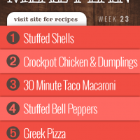 Menus4Moms Free Weekly Dinner Menu Plan: Visit site for recipes; Week 23, 2019: 1-Stuffed Shells, 2-Crockpot Chicken and Dumplings, 3-Taco Macaroni, 4-Stuffed Bell Peppers, 5-Greek Pizza