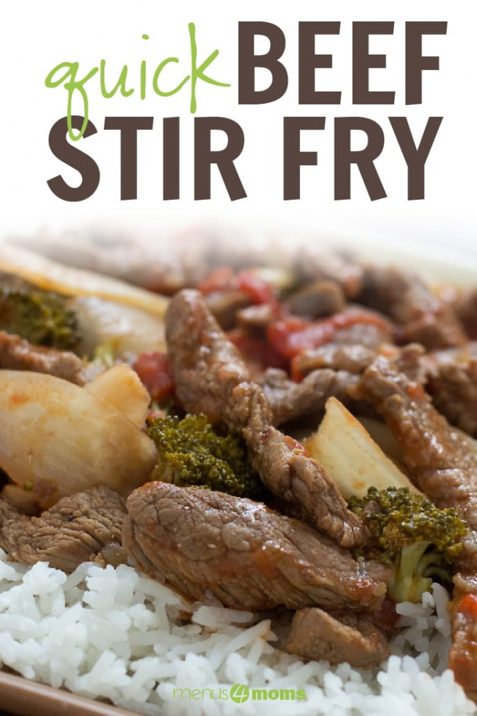 Cooked strips of beef with onions, brocolli florets, diced tomatoes, and mushrooms on a bed of rice; text Quick Beef Stir Fry Menus4Moms