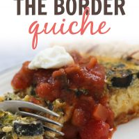 Photo of a fork cutting into a slice quiche topped with salsa and sour cream; text South of the Border Quiche - Add Salt & Serve logo