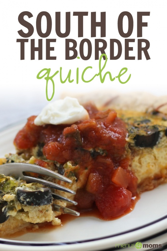 Photo of a fork cutting into a slice of quiche topped with sliced black olives, salsa, and sour cream on a white plate with a blue ring around the edge; text South of the Border Quiche Menus4Moms