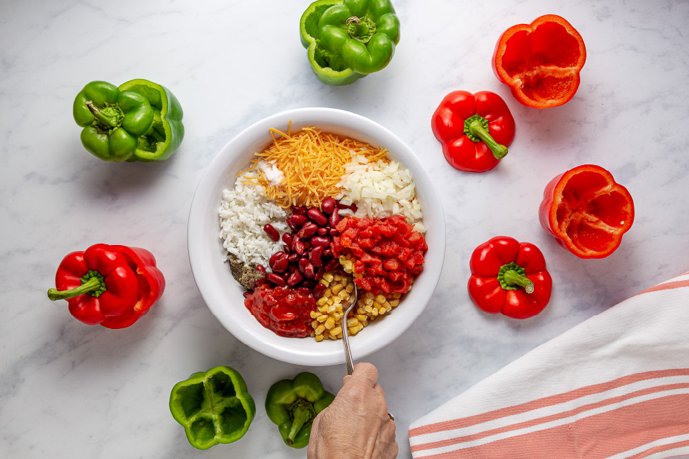 Ingredients for Easy Slow Cooker Southwestern Stuffed Peppers with Cheese