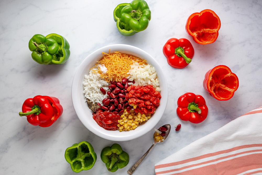 Bell peppers and filling for Easy Slow Cooker Southwestern Stuffed Peppers with Cheese