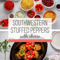 Southwestern Stuffed Peppers with Cheese ingredients and in slow cooker