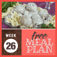 Free Meal Plan Week 26; image of meatballs in a creamy stroganoff sauce over egg noodles and garnished with parsley