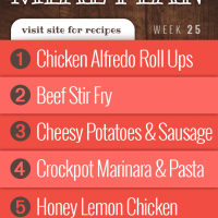 Meal plan for June 17-21, 2019: Chicken Alfredo Roll Ups, Beef Stir Fry, Cheesy Potatoes and Sausage, Crockpot Marinara Sauce over Pasta, and Baked Honey and Lemon Chicken