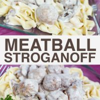 Top photo is wide egg noodles and meatballs topped with a mushroom sauce on a purple plate with a fork, garnished with parsley. Bottom photo is Wide egg noodles and meatballs topped with a mushroom sauce on a purple plate, garnished with parsley; text Meatballs Stroganoff Add Salt and Serve