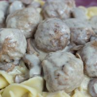 Meatball Stroganoff over Egg Noodles