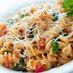 Spiral pasta mixed with diced tomatoes and spinach, topped with shredded parmesan cheese