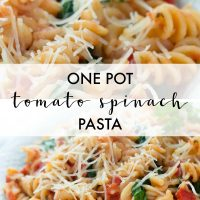 Spiral pasta mixed with diced tomatoes and spinach, topped with shredded parmesan cheese with text One Pot Tomato Spinach Pasta - Add Salt & Serve logo