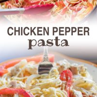 Strips of onion and red and yellow bell peppers with diced chicken on a bed of angel hair pasta, with melted mozzarella cheese.