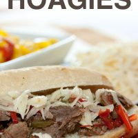 A hoagie roll on a red plate with shredded roast beef, onions, and bell peppers, with a white bowl of pickled peppers in the background; text Italian Beef Hoagies Add Salt & Serve formerly Menus4Moms