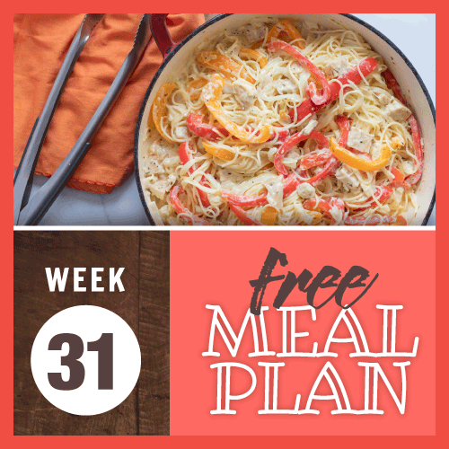 Free Meal Plan Week 31 2019; image of spaghetti, red & yellow bell peppers, chicken, and cheese in a cream sauce in a skillet