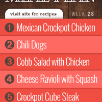 Free Weekly Meal Plan for Week 27, 2019: Easy Mexican-style Crockpot Chicken, Chili Cheese Dogs, Cobb Salad, Creamy Cheese Ravioli with Summer Squash, Crockpot Cube Steak with Gravy